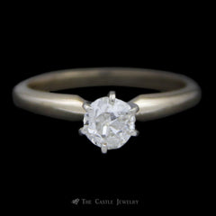 Old Mine Cut .50ct Diamond Solitaire Engagement Ring in 14K Yellow Gold
