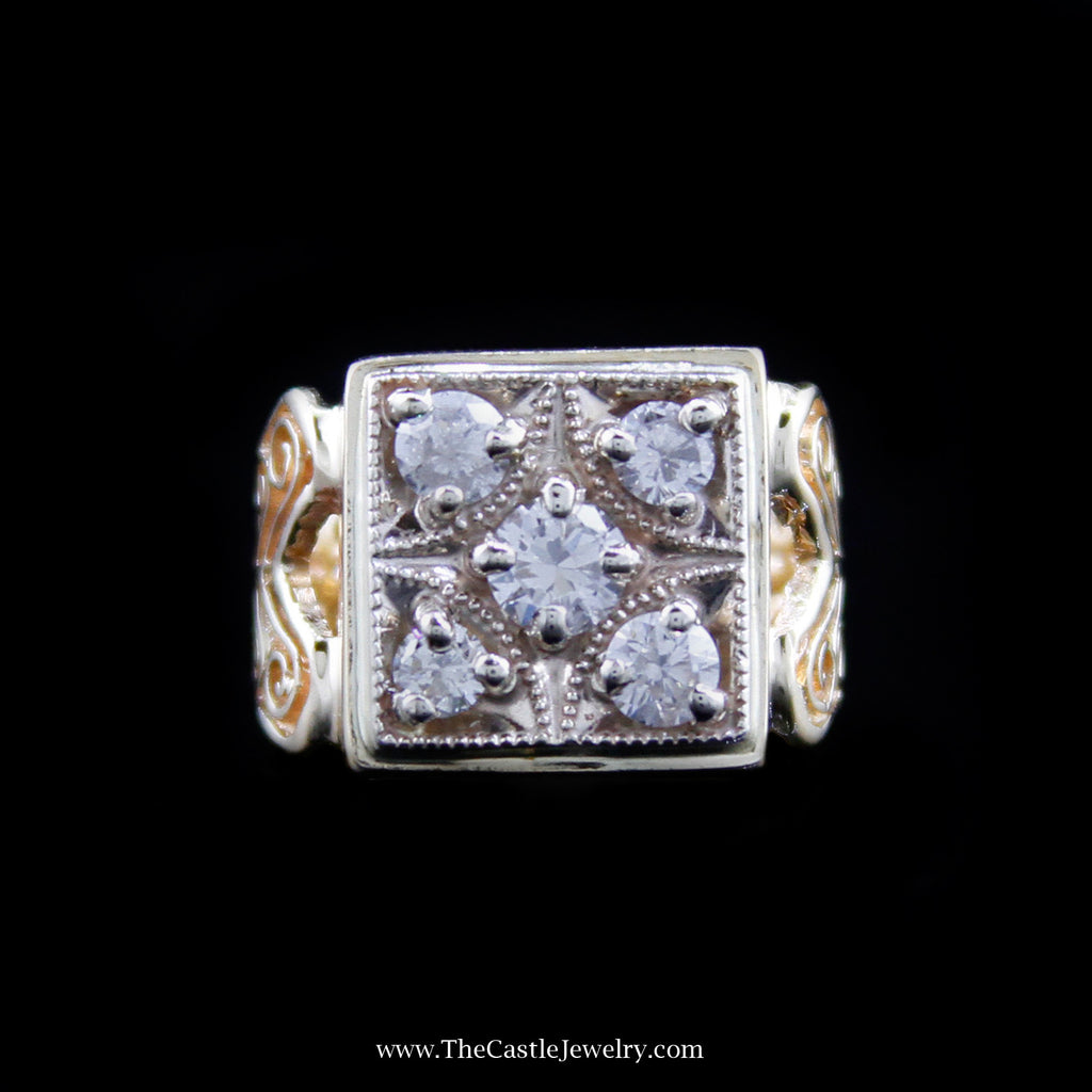 Unique Diamond Cluster Ring in Squared Design Mounting in Yellow Gold - The Castle Jewelry  - 1