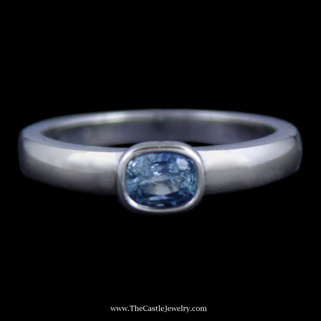 Lovely Bezel Set Oval Aquamarine Gemstone Ring in White Gold - The Castle Jewelry  - 1