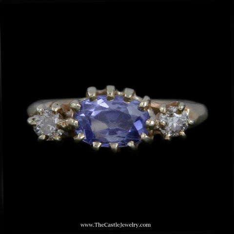 Beautiful Antique Oval Sapphire Ring w/ Old European Cut Diamond Sides in Yellow Gold