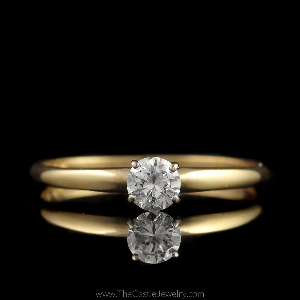 Simple Round Brilliant Cut Diamond Engagement Ring .27ct in 4 Prong 14K Yellow Gold Mounting - The Castle Jewelry  - 1