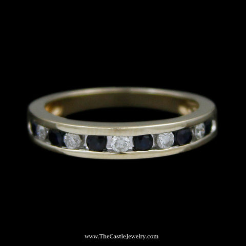 Channel Set Round Brilliant Cut Diamond & Round Sapphire Wedding Band Crafted in 14k Yellow Gold