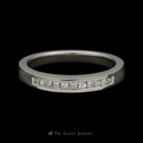 Channel Set Princess Cut 1/3cttw Diamond Wedding Band in 14K White Gold