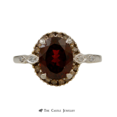 Antique Oval Garnet Ring with Understated Brown Diamond Bezel & Infinity Sides in 10K Gold