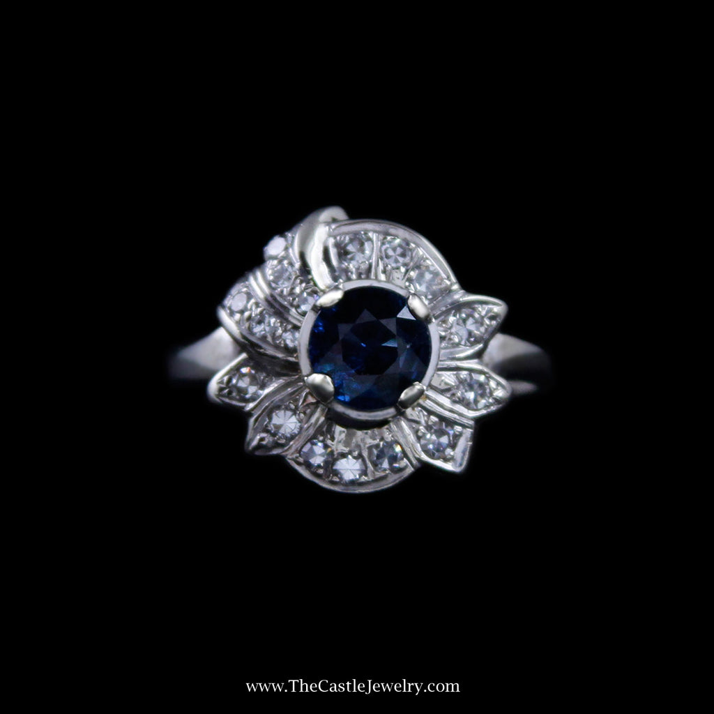 Stunning Round Sapphire Ring w/ Diamond Cluster Leaf Halo in 14k White Gold - The Castle Jewelry  - 1