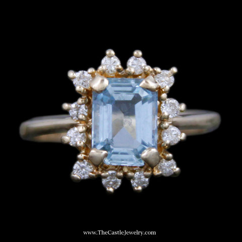 Beautiful Emerald Cut Aquamarine Ring w/ Round Brilliant Cut Diamond Bezel in Yellow Gold