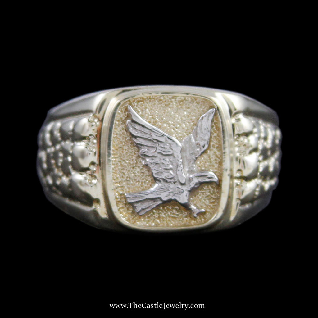 Men's Eagle Ring w/ Rectangle Design Bezel & Nugget Design Sides in Yellow & White Gold - The Castle Jewelry  - 1