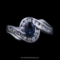 Gorgeous Oval Sapphire Ring w/ Channel Set Round Diamond Bypass Design Mounting in White Gold - The Castle Jewelry  - 1