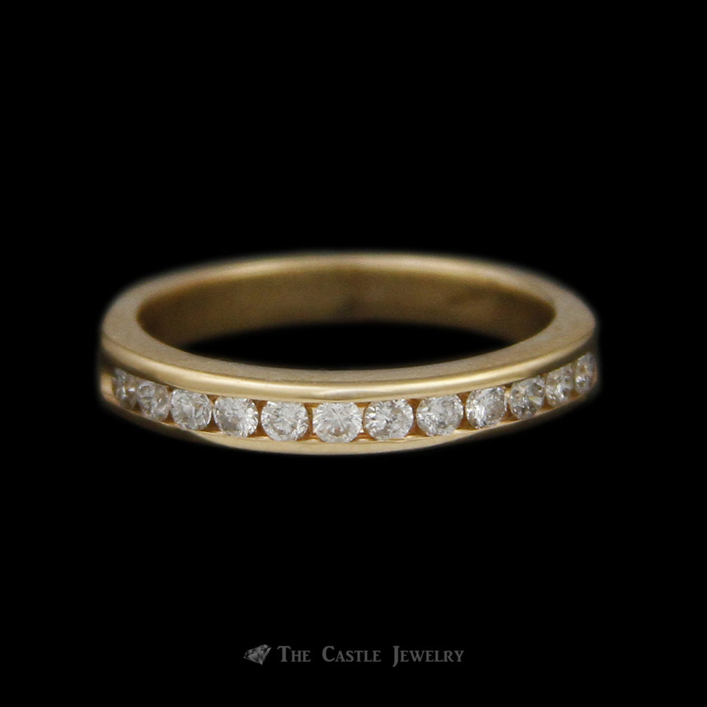 Round Brilliant Cut 1/4cttw Channel Set Diamond Band in 10K Yellow Gold