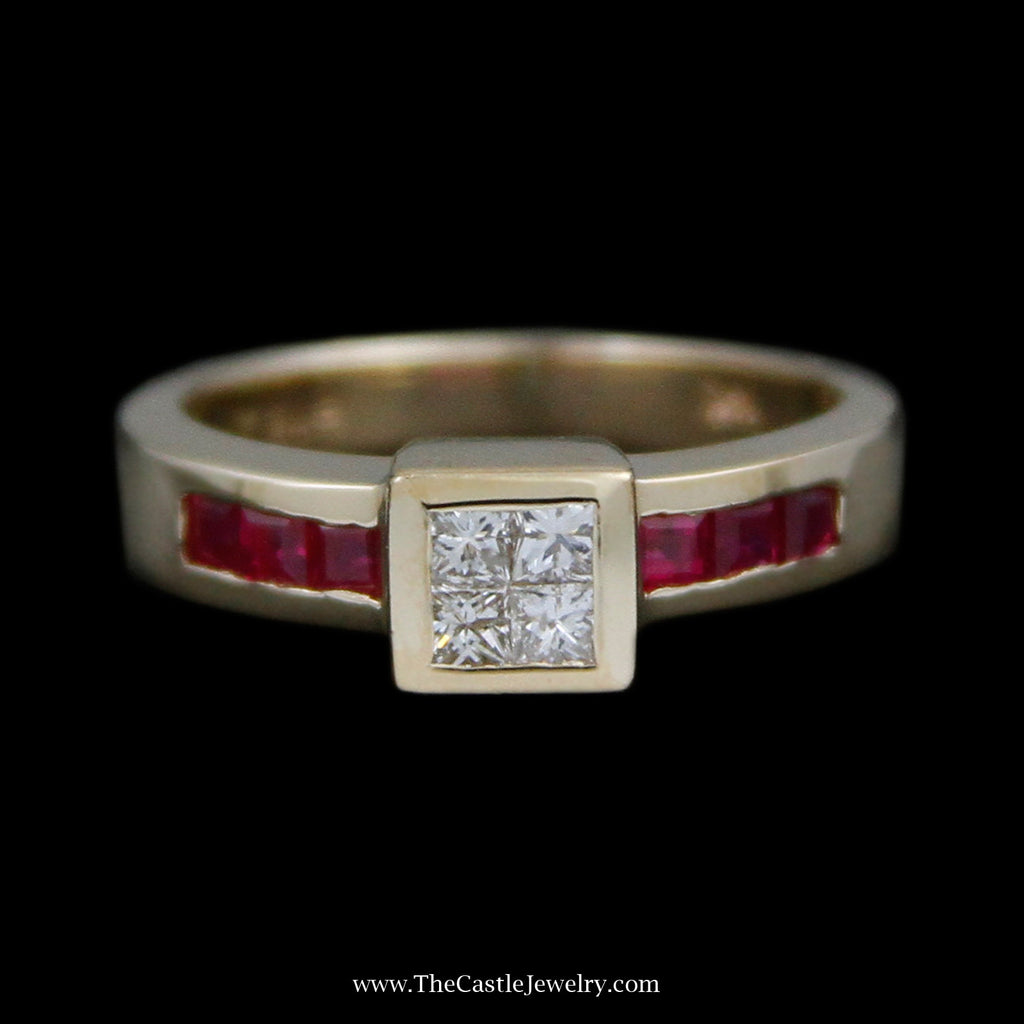 Invisible Set Ring w/ 4 Princess Cut Diamonds & Channel Set Square Shaped Rubies in 14k Yellow Gold
