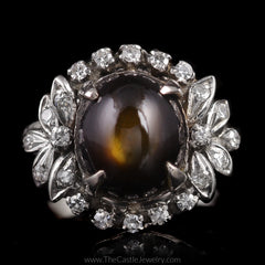 Rare Vintage Natural Star Sapphire Ring with Single Cut Diamond Accents in 14K White Gold - The Castle Jewelry  - 1