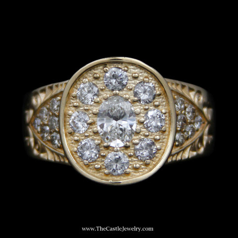 Gents Oval & Round Diamond Cluster w/ Round Brilliant Cut Diamond Sides in 14k Yellow Gold