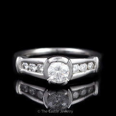 Platinum Engagement Ring .35ct Tension Set Round Diamond Graduated Diamond Accents - The Castle Jewelry  - 1