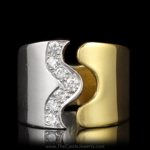 Moboco Designer Ring Combination of Platinum & 18K Yellow Gold with Pave Diamond Wave