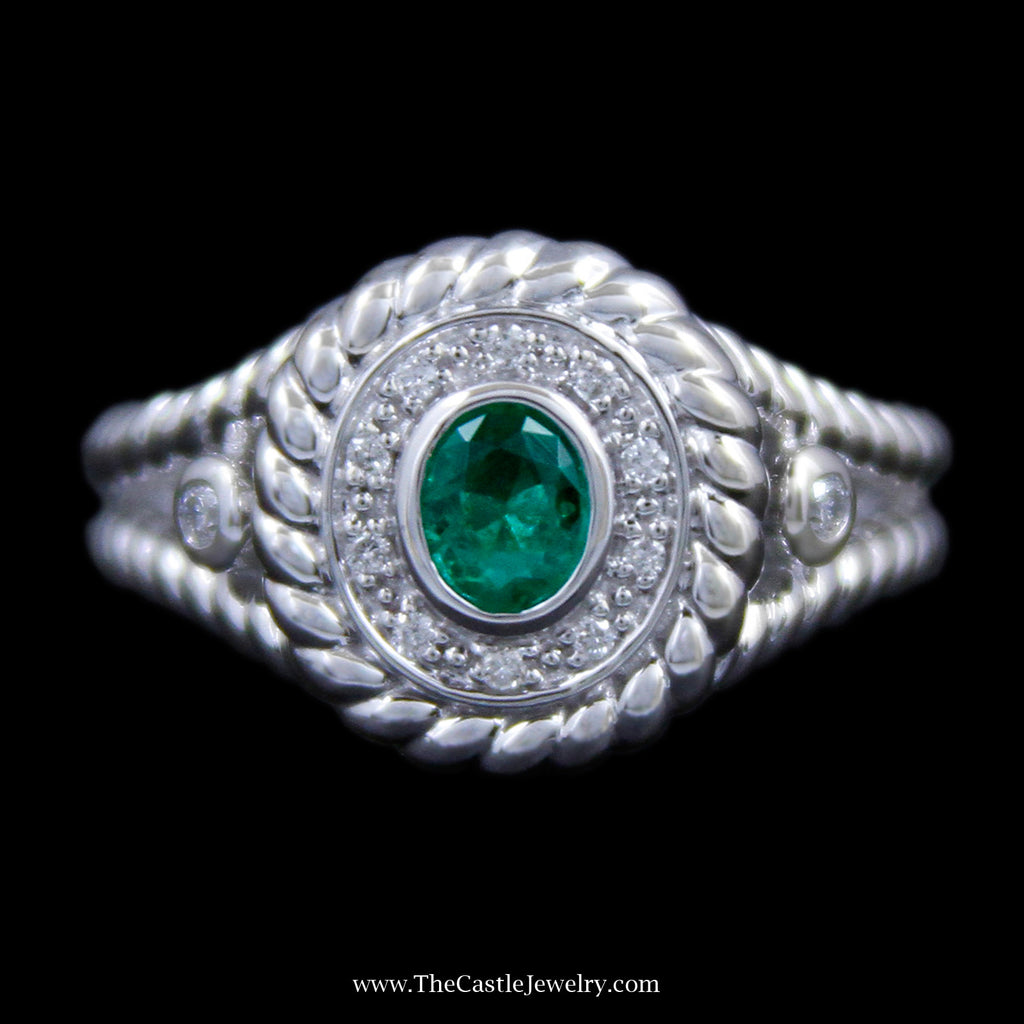 Stunning Oval Bezel Set Emerald w/ Diamond Bezel & Rope Design Outer Bezel & Sides in White Gold - The Castle Jewelry  - 1