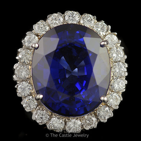 Stunning Recrystalized Over 30 Carats Oval Sapphire with 2 cttw Round Diamond Halo in 14K White Gold