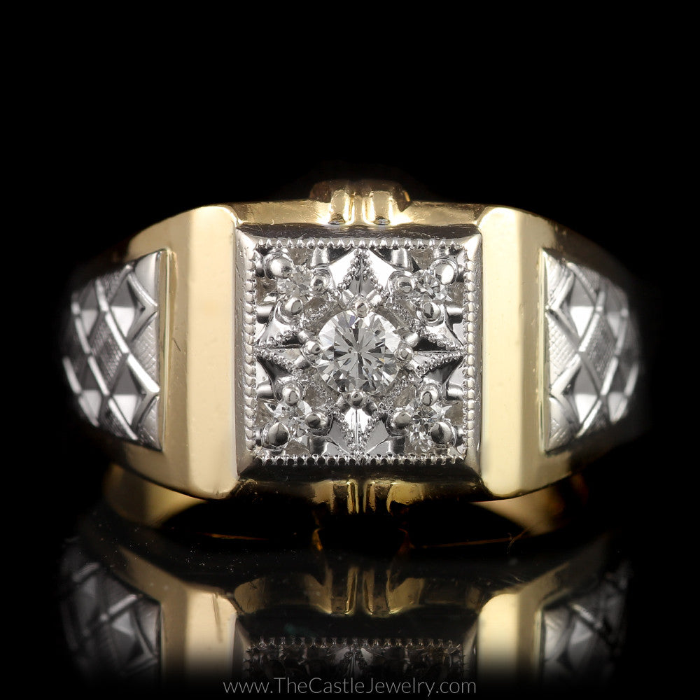 Men's Beaded Design Round Diamond Two Toned Ring w/ Diamond Cut Sides in 14K Gold - The Castle Jewelry  - 1