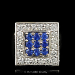 Large Square Sapphire Cluster Cocktail Ring Surrounded in Moissanites in 14K White Gold - The Castle Jewelry  - 1