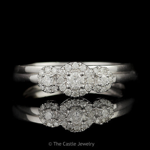 Crown Collection .30cttw 3 Stone Round Diamond Engagement Bridal Set with Diamond Halos in 10K White Gold