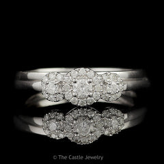 Crown Collection .30cttw 3 Stone Round Diamond Engagement Bridal Set with Diamond Halos in 10K White Gold - The Castle Jewelry  - 1