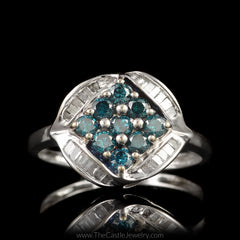 Blue Diamond Cluster Ring Accented with Channel Set Baguette Diamonds in 10K White Gold - The Castle Jewelry  - 1