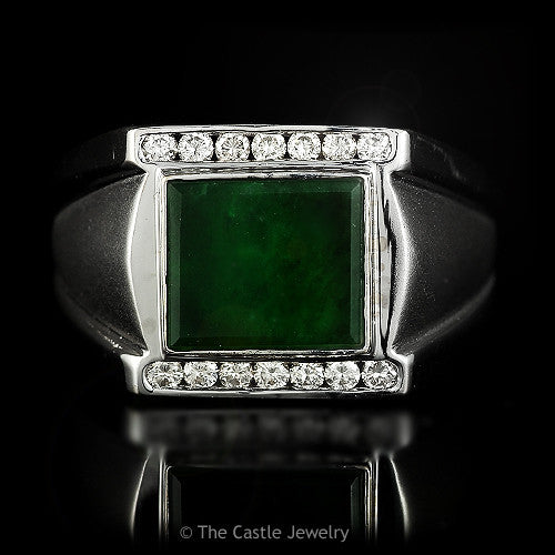 Mens Square Cut Green Onyx 1/4cttw Round Diamond Accents Satin & Polished Finish 18K White Gold - The Castle Jewelry  - 1