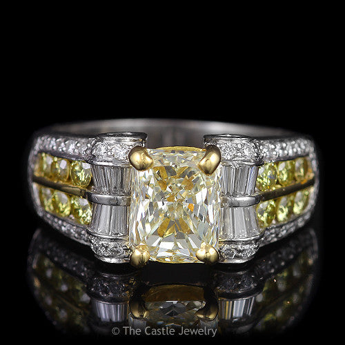 Radiant Cut Natural Fancy Yellow Engagement Ring With