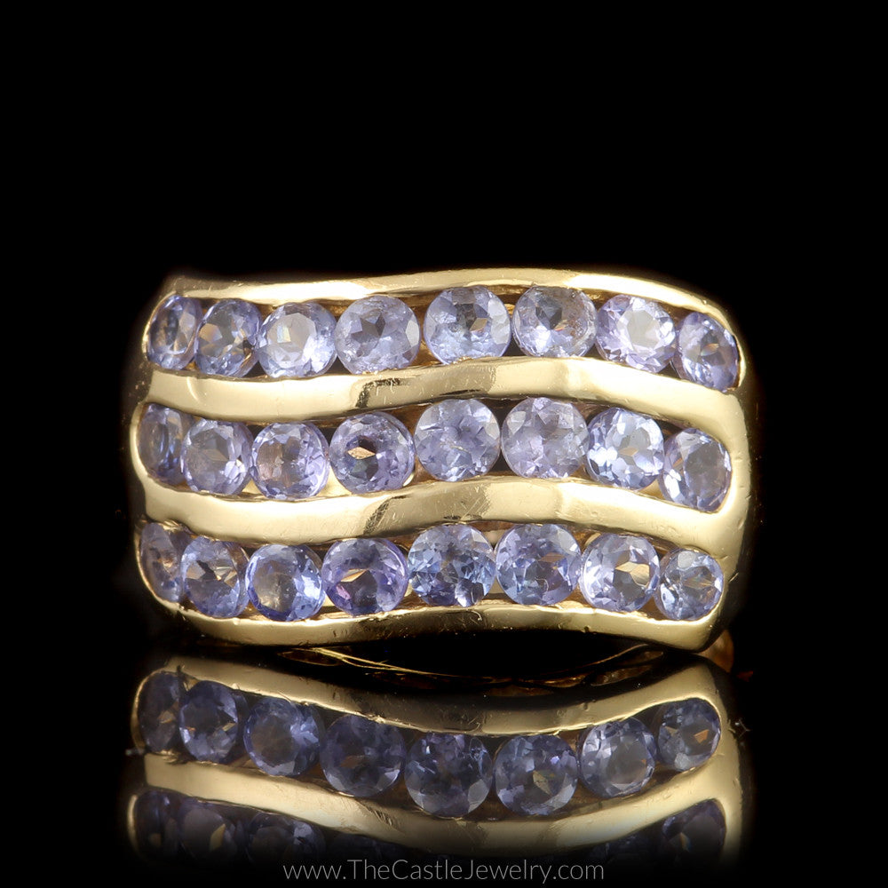 Channel Set Tanzanite Ring  3 Row Wave Design in 14K Yellow Gold - The Castle Jewelry  - 1