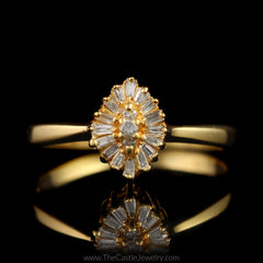 Marquise Shaped Marquise & Baguette Diamond Cluster Ring in 14K Yellow Gold - The Castle Jewelry  - 1