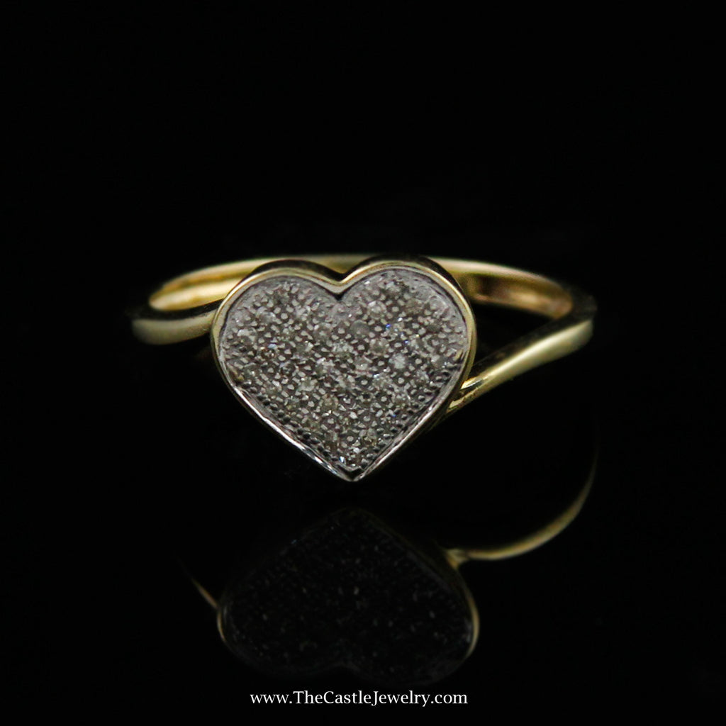 Heart Shaped Pave Diamond Ring In 10K White Gold - The Castle Jewelry  - 1