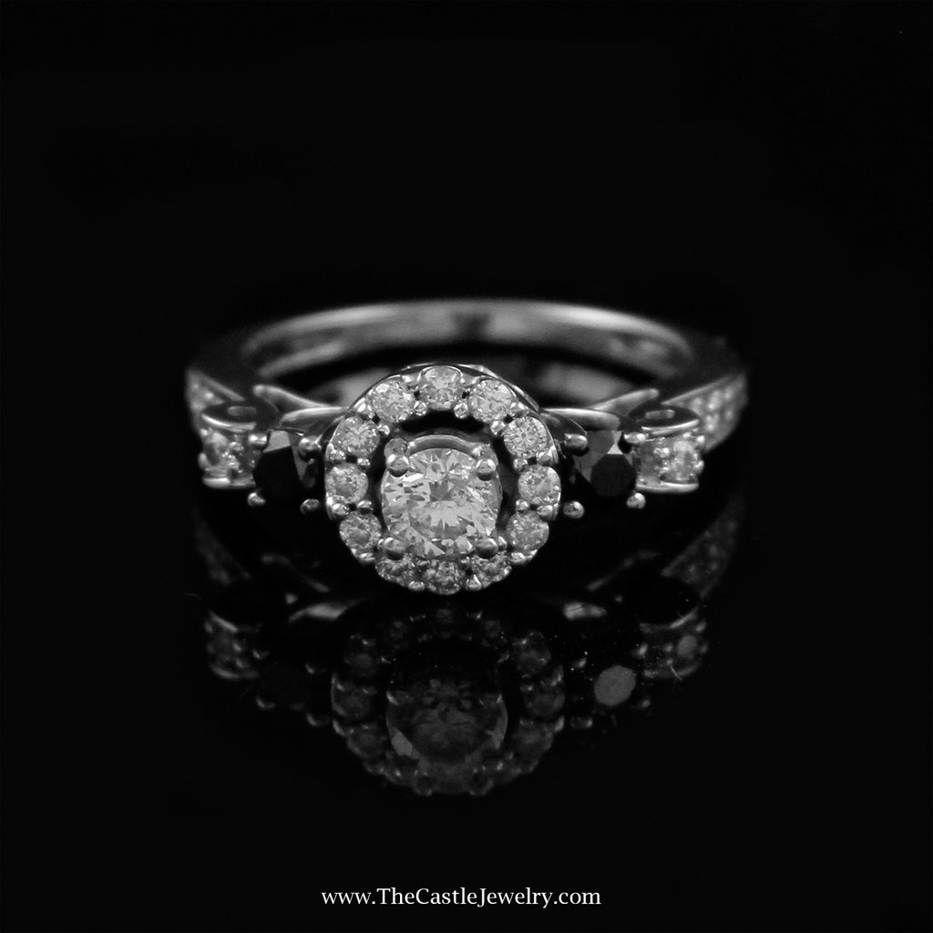 Round Diamond Engagement Ring w/ Halo & Black Diamond Accents 14K White Gold - The Castle Jewelry  - 1