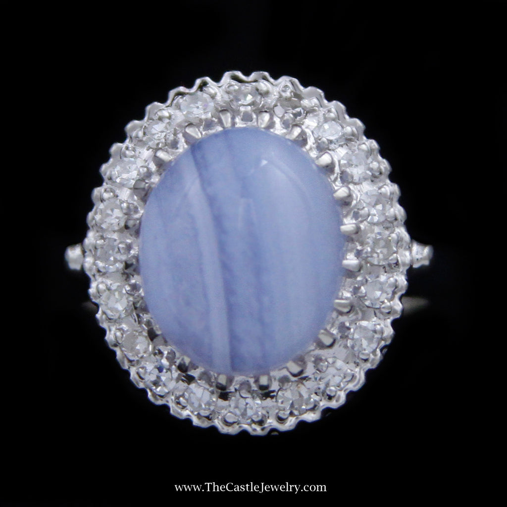 Oval Cabachon Banded Agate Ring With Round Brilliant Cut Diamond Bezel in 14k White Gold