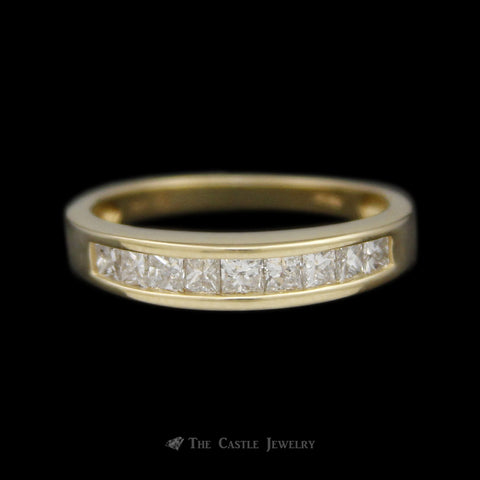 Channel Set Princess Cut Diamond Wedding Band 1/2cttw in 14K Yellow Gold