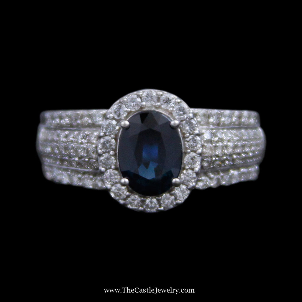 Oval Sapphire Ring w/ Round Brilliant Cut Diamond Bezel and Sides in 14k White Gold