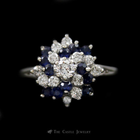 Sapphire & Diamond Swirl Design Tiered Cluster Ring w/ .50cttw of Diamonds in 14k White Gold