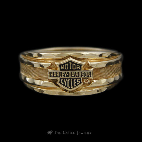 Gents Diamond Cut Harley Davidson Ring w/ Black Enamel in 10K Yellow Gold