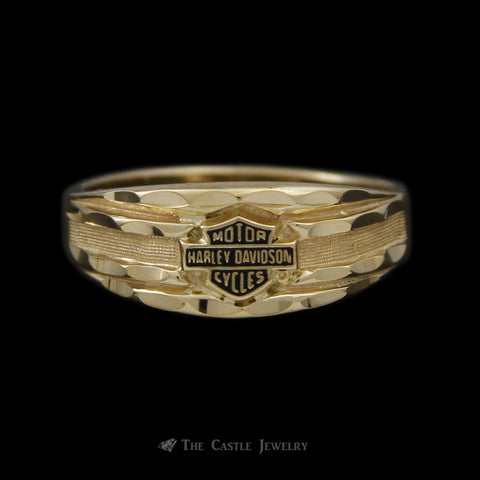 Ladies Diamond Cut Harley Davidson Ring w/ Black Enamel in 10K Yellow Gold