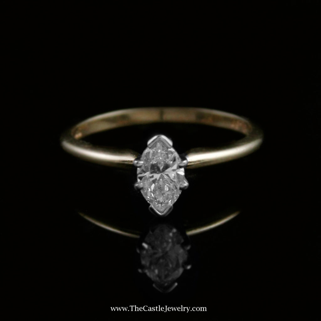 Marquise Cut .59 Carat Diamond Solitaire Engagement Ring in 14K Yellow Gold - The Castle Jewelry  - 1