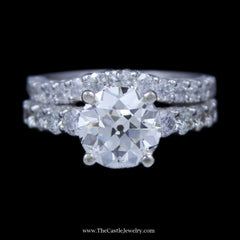 3 Carat Old European Cut Diamond Engagement Ring w/ Round Diamond Sides & Band in White Gold - The Castle Jewelry  - 1