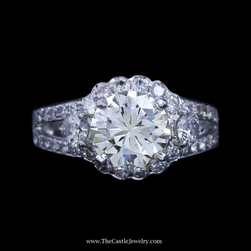 2.02ct Round Diamond Engagement Ring w/ Diamond Bezel & Sides in 14K White Gold