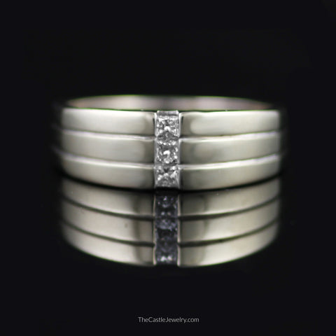 Gent's Triple Channel Set Princess Cut 1/4cttw Diamond Band in 14K White Gold