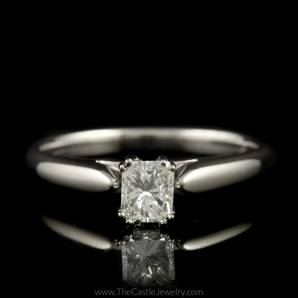 Beautiful Radiant Cut Diamond Solitaire Engagement Ring in 14K White Gold - The Castle Jewelry  - 1
