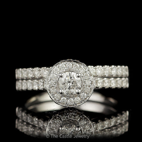 SPECIAL Crown Collection 1cttw Round Diamond Engagement Bridal Set w/ Halo and Cathedral in 14K White Gold