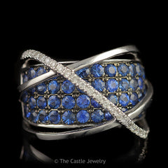 Authentic LeVian Designer Wide Sapphire Band with Triple Cross Over Bars in 14K White Gold - The Castle Jewelry  - 1