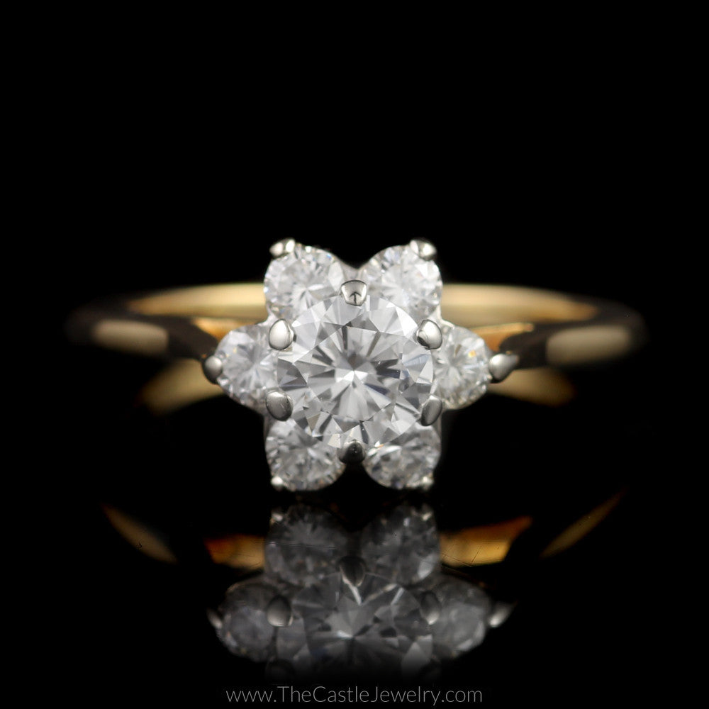 Stunning 1cttw 7 Diamond Flower Cluster Ring in 14K Yellow Gold - The Castle Jewelry  - 1