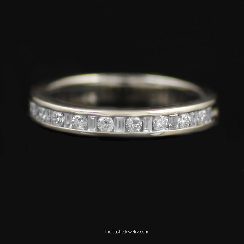 Gent's Baguette & Round Brilliant Cut 1/2cttw Diamond Band in 14K White Gold - The Castle Jewelry  - 1