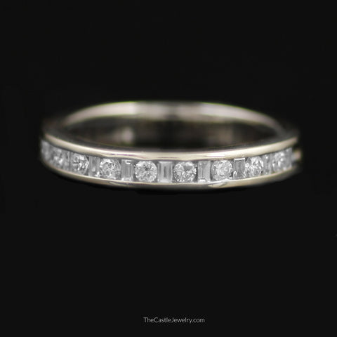 Gent's Baguette & Round Brilliant Cut 1/2cttw Diamond Band in 14K White Gold