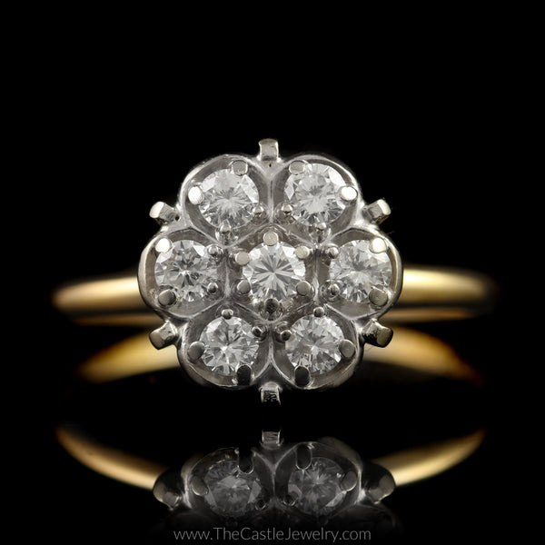 Round 7 Diamond Cluster Ring 1 2cttw In 14k Yellow Gold