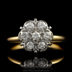 Round 7 Diamond Cluster Ring 1/2cttw in 14K Yellow Gold - The Castle Jewelry  - 1