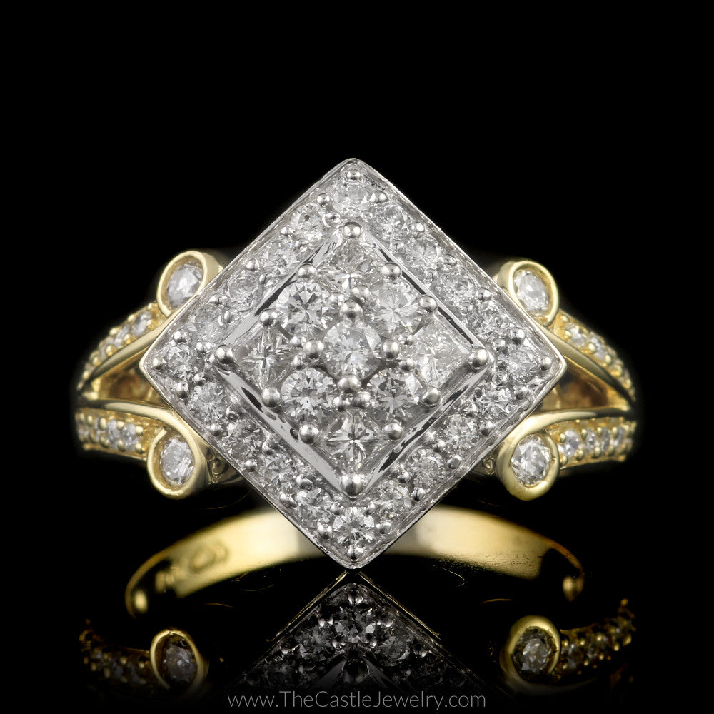 Unique Square Shaped 3/4cttw Diamond Cluster Ring in 14K Two-Toned Gold - The Castle Jewelry  - 1